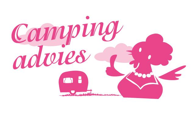 geïllustreerde button camping advies